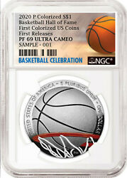 2020-p Basketball Hof Colorized Proof Silver Dollar Ngc Pf69 Uc First Release