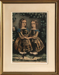 Currier And Ives, Two Girls, Hand-colored Lithograph