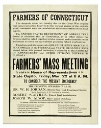 Broadside Farmers Of Connecticut The Demands Upon Our Community Due To The Great