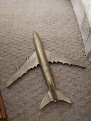 Cool Mid Century Modern Brass Airplane Jet Sculpture Boeing Model Plane 60and039s