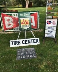 Vintage Car Truck Gas Oil Tire Advertising Sign 2 Sided Tire Center 48 Inch Ship