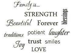 Family Wall Letter Word Art Sticker Decoration 12 Quote Words Bedroom Livingroom