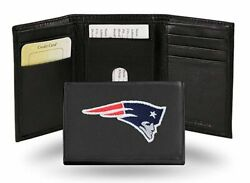 New England Patriots Nfl Embroidered Leather Trifold Wallet