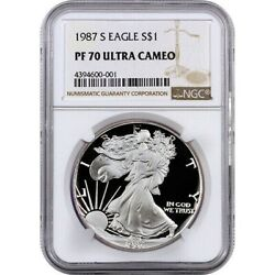 1987 S Proof Silver Eagle Ngc Pf70 Ultra Cameo Very Rare Pop. Is 1,764