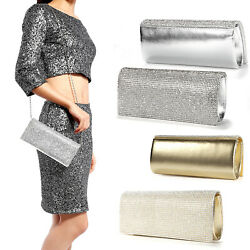 Womens Evening Bag Faux Leather Clutch Purse Bridal Diamante Crystal Cover Flap $21.84