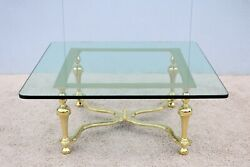 1970s Hollywood Regency Maison Jansen Style Brass And Glass Square Coffee Table