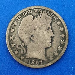 1897 O Silver Barber Half Dollar 50c Better Key Scarce New Orleans Mint Coin