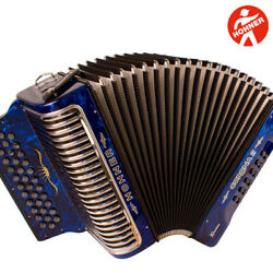 Hohner Corona Ii Xtreme Fbe 34 Button Blue Accordion With Straps And Gig Bag
