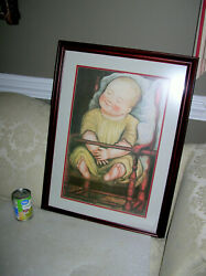 Large Williamsburg Baby In A Red Chair Framed Folk Art Print