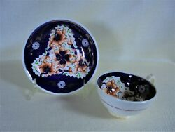 Antique Gaudy Welsh Teacup And Saucer Tricorn Pattern England 1845