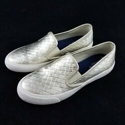Sperry Top Sider Light Gold Weave Boat Shoes Slip On Loafers Womens 8.5