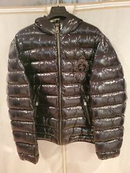 Dolce And Gabanna Glossy Black Hooded Down Puffer Jacket With Metal Logo