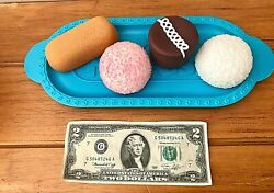Realistic Fake Faux Play Food Prop Rubber ✿hostess Snowball Twinkie Cupcake Tray