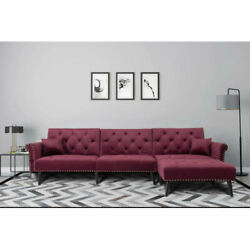 Modern Sofa Bed Set Living Room Furniture Reversible Sectional 2pc Wine Red