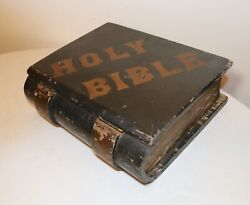 Large Antique Hand Made Painted Folk Art Carved Wood Holy Bible Book Box Holder