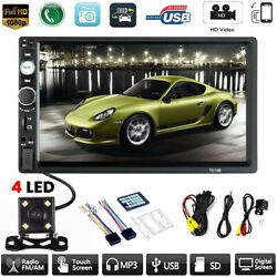 Car MP5 Player 7quot; Double 2DIN Bluetooth Touch Screen Stereo Radio USB AUX Camera