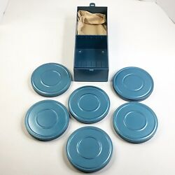 Vintage Compco Chicago Blue Box Case With 6 Metal Film Tin Canisters Mid Century