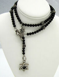 Estate Long King Baby Sterling Silver Onyx Bead Star Of David Roses Necklace