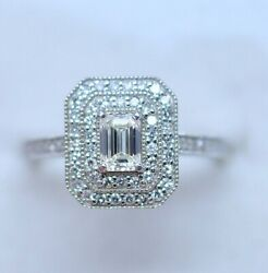 Antique Jewellery White Gold Ring Gia Natural Diamonds Vintage Jewelry Size N