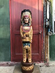 John Gallagher Carved Wooden Cigar Store Indian 4 Ft. Tall Statue White Buffalo