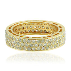 1.19ct Pave Diamond 18kt Solid Yellow Gold Band Ring Indian Ethnic Look Jewelry