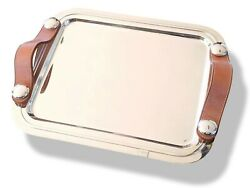 Hermes [m3] Home Art Deco Plated Silver Tray Sparte Pm With Leather Handles New