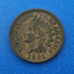 1891 Indian Head One Cent Penny Type 3 Bronze Better Key Philadelphia Coin
