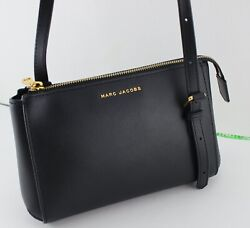 NEW AUTHENTIC MARC JACOBS BLACK LEATHER HANDBAG CROSSBODY WOMEN#x27;S M0013941 $129.99