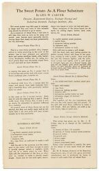 Ge Carver, Rge / Broadside Or Flyer The Sweet Potato As A Flour Substitute 1st