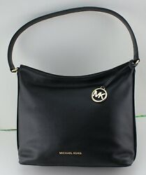NEW AUTHENTIC MICHAEL KORS GRIFFIN BLACK LG SHOULDER HOBO LEATHER HANDBAG WOMENS $129.99