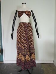 Vintage Indian Cotton Hippie Halter Top and Maxi Skirt Dress Tag Size 8