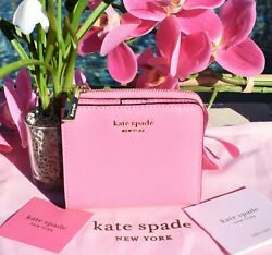 🌸 NWT Kate Spade Sylvia Small Bifold Wallet Leather Hibiscus Tea Pink New $98 $49.00