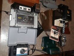 Lot Of Vintage Antique Cameras And Accessories Polaroid Kodakargusbrownie