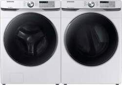 Samsung Wf45r6100aw Washer And Dvg45r6100w Gas Dryer White Side-by-side Front Load