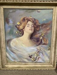 Antique Oil Painting Art Nouveau Lady Signed By The Artist Framed Rare