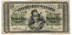 Dominion Of Canada 25 Cents Vf A Series 1870 P-8b / Dc-1a Banknote