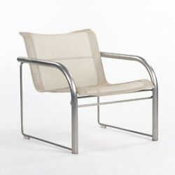 C. 1980 Prototype Richard Schultz For Knoll Stainless Steel And Mesh Lounge Chair