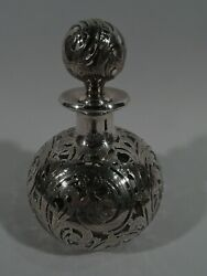 Alvin Cologne - 3010 - Antique Perfume Bottle - American Glass Silver Overlay