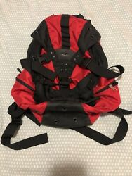 Preowned Oakley Icon Backpack Red Black Graphic Design Multi Pocket $60.00