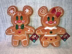 2020 Disney Store Christmas 12andrdquo Plush Gingerbread Scented Mickey Couple - Nwt