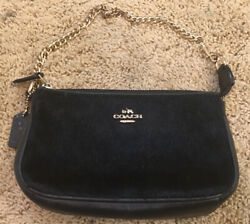 Coach Black Cow Hair Wristlet Small Bag Zip Top with Gold Chain Handle EUC $29.00