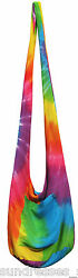 Lightweight Rainbow Tie Dye Crossbody Beach Bag Zipper Closure NEW Casual Summer $13.99