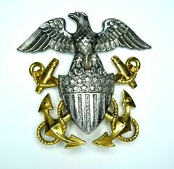 Exceptional Wwii Us Navy Officer Hat Badge Insignia Handh 14k Gold And Sterling