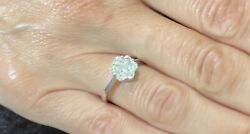Diamond Ring. 18 Ct White Gold Modern Daisy Cluster Size M . New And Certified