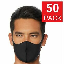 50 Pack Black Face Mask Breathable Washable Soft Cloth Fabric WHOLESALE $24.95