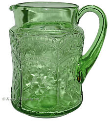 Federal Patrician Green Large Pitcher - Applied Handle - Scarce