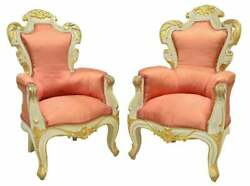 Armchairs Pair Baroque Style Upholstered Parcel Gilt Vintage / Antique Fancy