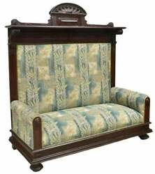 Antique Hall Bench Victorian Upholstered High Back Bench Blue 1800s