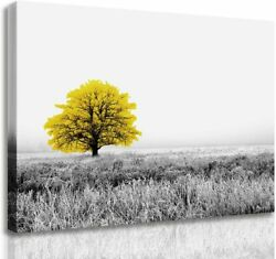 Canvas Wall Art Painting Yellow Tree Landscape Picture for Bedroom Decoration
