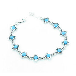 Petite 925 Sterling Silver Natural Sleeping Beauty Turquoise Linked Bracelet